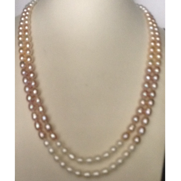Oval shaded natural fresh water pearls necklace 2 layers