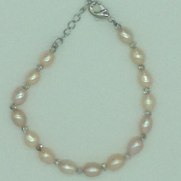 Pink Oval Pearls With White Balls Alloy Chain Brac...