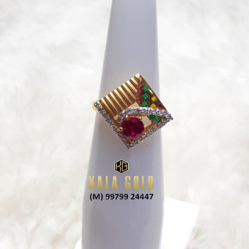 916 Fancy Red Stone Ladies Ring With Meena
