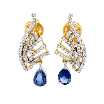 Blue stone diamond earrings in 14k yellow gold 9top94