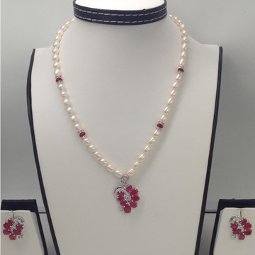 White And Red CZ PendentSet With OvalPearls Mala JPS0126