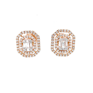 Octagon shaped emerald cut diamond butty with dual...