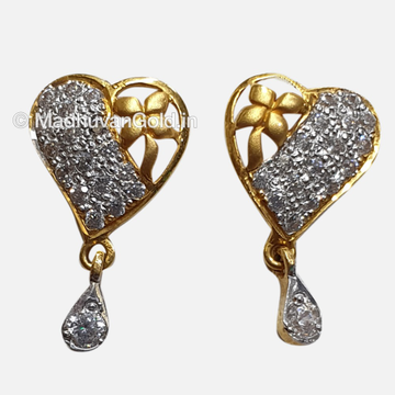 22K Gold Heart Shaped Diamond Earrings