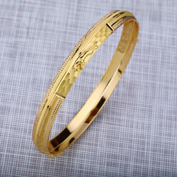 Mens 916 Plain Jaguar Punjabi Gold Kada Bracelet-MPKB05