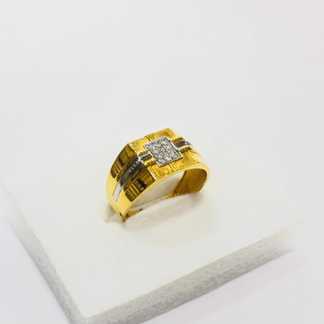 22kt, 916 HM, Yellow Gold AD broad square Design Ring For Men JKR212