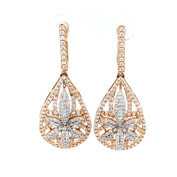 Six petal flower & drop diamond pendant in 18k ros...