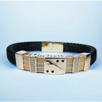 Fancy 925 Silver Gents Black Leather Bracelet With Golden Jaguar