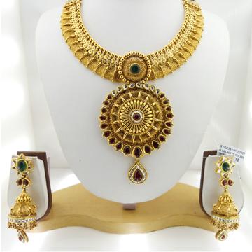 916 Gold Antique Bridal Necklace Set RHJ-3382