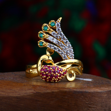 916 Gold CZ Peacock Design Ring RJ-R04