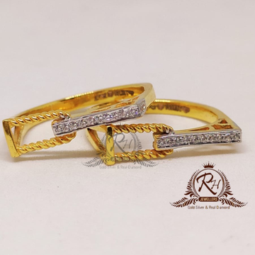 22 carat gold couple traditional fancy rings Rh-Cr912