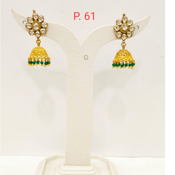 Gold plated kundan jhumka earring with hanging green pearl 1696