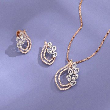 18KT Rose Gold fancy special occasions pendant set... by