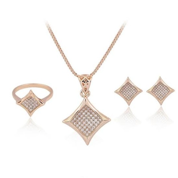 18 Karat, Rose Gold Chain, Pendant, ring And Earrings diamond shaped Set For Women JKP002