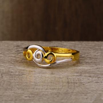 Ladies 916 Gold Plain Rodium Ring -LPR123