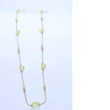 18KT Gold Delicate Chain with Green Stone For Ladies CHG0382