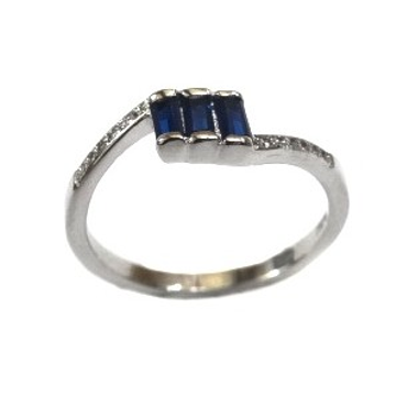 925 Sterling Silver Fancy Blue Colour Stone Ring M...