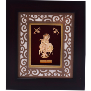 916 Gold Krishna With Cow Photo Frame AJ-11