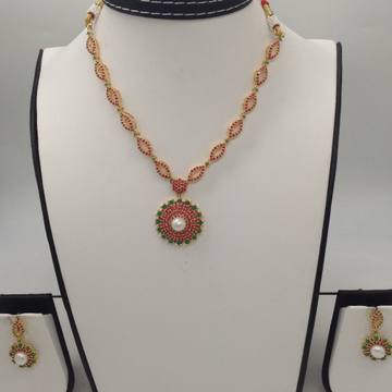 Red And Green CZ Syones Necklace Set JNC0054