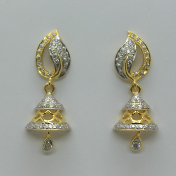 22k cz gold jummar earrings by Shree Sumangal Jewellers