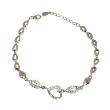 925 Sterling Silver Heart Shape Designer Bracelet MGA - BRS1760