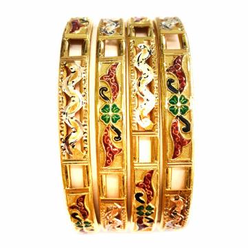 916 Gold Meenakari Copper Kadli Bangles MGA - GK049