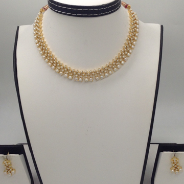 Freshwater White Button Pearls Necklace Set JNC005...