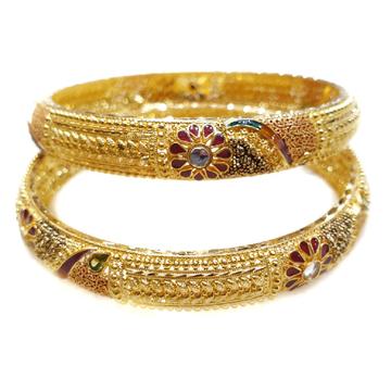 916 Gold Kalkatti Meenakari Flower Shape Kada Bangles MGA - GP070