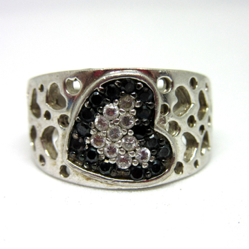 Silver 925 heart line black diamond band ring sr925-206