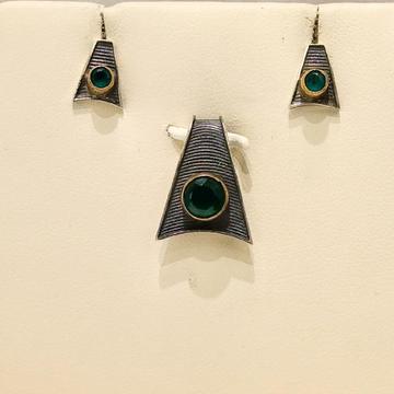 925 Silver Antique Polish Green Stone Pendant Set by Pratima Jewellers