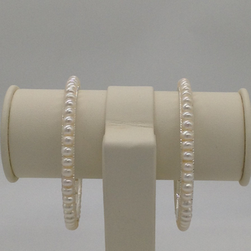 White Flat Pearls Bangles JBG0057