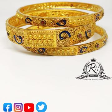 22 carat gold traditional fancy designer party four bangles RH-LB766