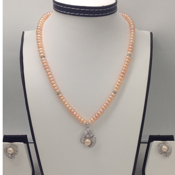 WhiteCZ And Orange Button Pearl PendentSet With Orange Flat Pearls Mala JPS0051
