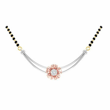 18K White Gold Rose Gold Real Diamond Mangalsutra MGA - RMS006