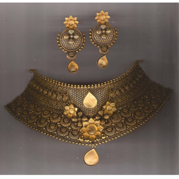 22KT Gold Antique Flower Design Khokha Choker Set PJ-N004