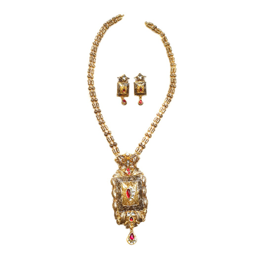 22k Gold Antique Designer Mala Necklace With Earrings MGA - GLS067