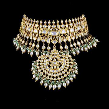 22KT Gold Kundan Choker Set With Pana Pearl Beads a For Women
