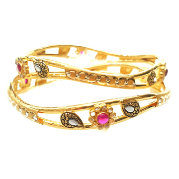 22k Gold Checkers diamond round shape fancy designer Kadli Bangles MGA - GK031