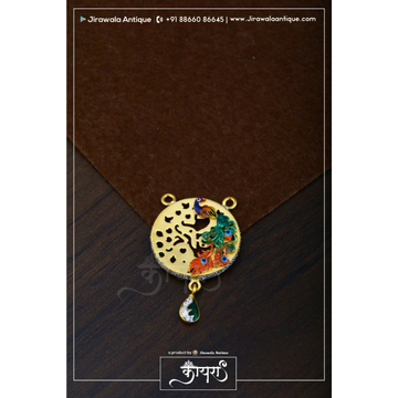 Antique Cum Cz MANGALSUTRA Pendant With Peacock Design In Cz Design