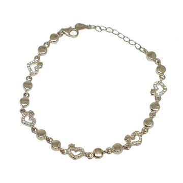 925 Sterling Silver Heart Shape Fancy Bracelet MGA - BRS1761