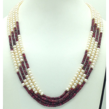 Freshwater White Flat Pearls with Red Ruby4 Layers...