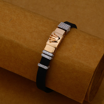 Mens 18K Gold Leather Bracelet-MLB100