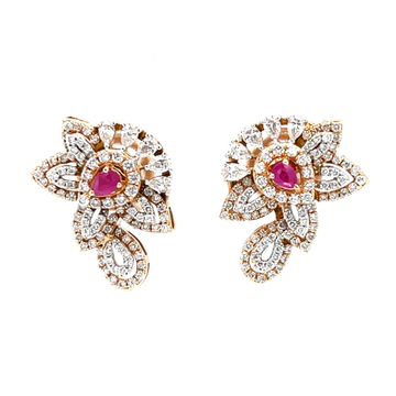 Incroyable diamond earring with red colour stone in rose gold 8shp36