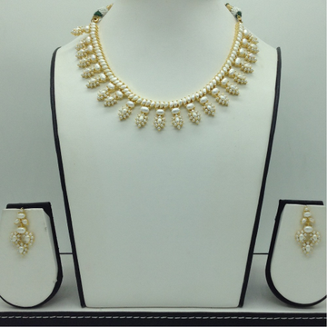 Freshwater White Button Pearls Necklace Set JNC0113