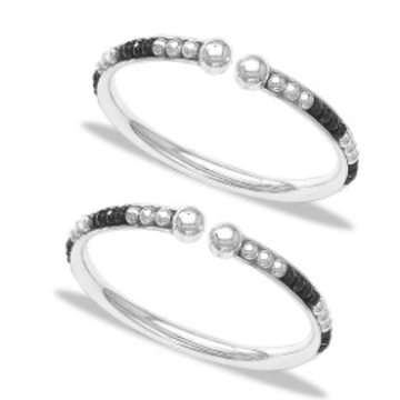 silver 925 sterling black beaded nazariya bangle for new born babies RJ-S9B05