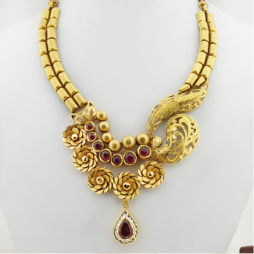 22KT Gold Antique Bridal Necklace Set RHJ-3372