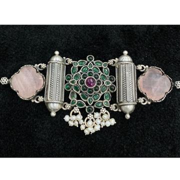 92.5% Pure Silver Compact Temple Choker PO-216-72 by Puran Ornaments