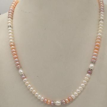 Freshwater Multicoloured Shaded Flat Pearls SingleLayer MalaWith CZChakri JPM0319