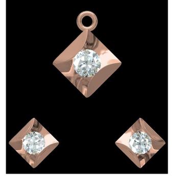 18KT rose gold soliter diamond pendant set