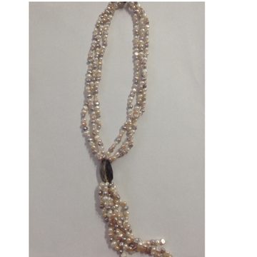 Freshwater multicolour potato pearls 3 layers necklace with faceted smoky topaz