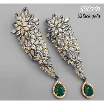Beautiful black and golden diamond earrings#553